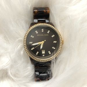 Michael Kors Tortoise Shell Watch with Gold tones